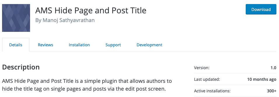 how to remove page or post title