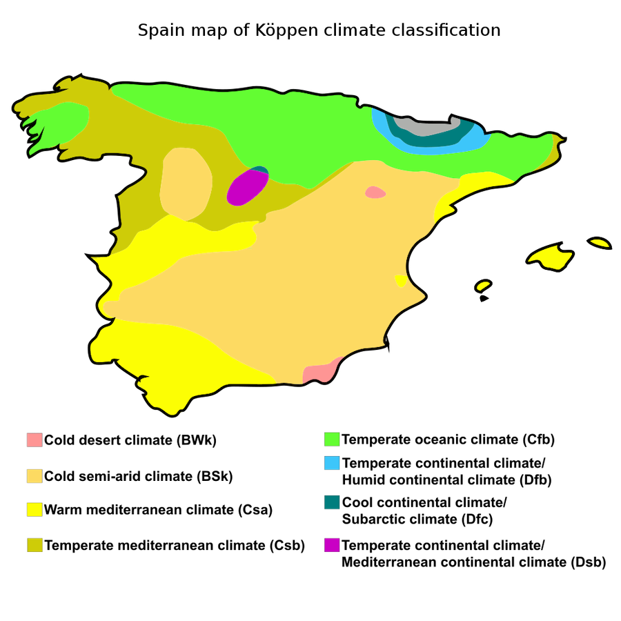 map of kloppen climate classification