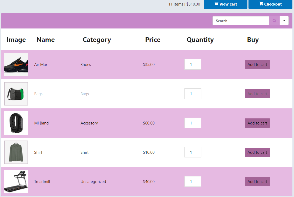 Interactive WooCommerce product table