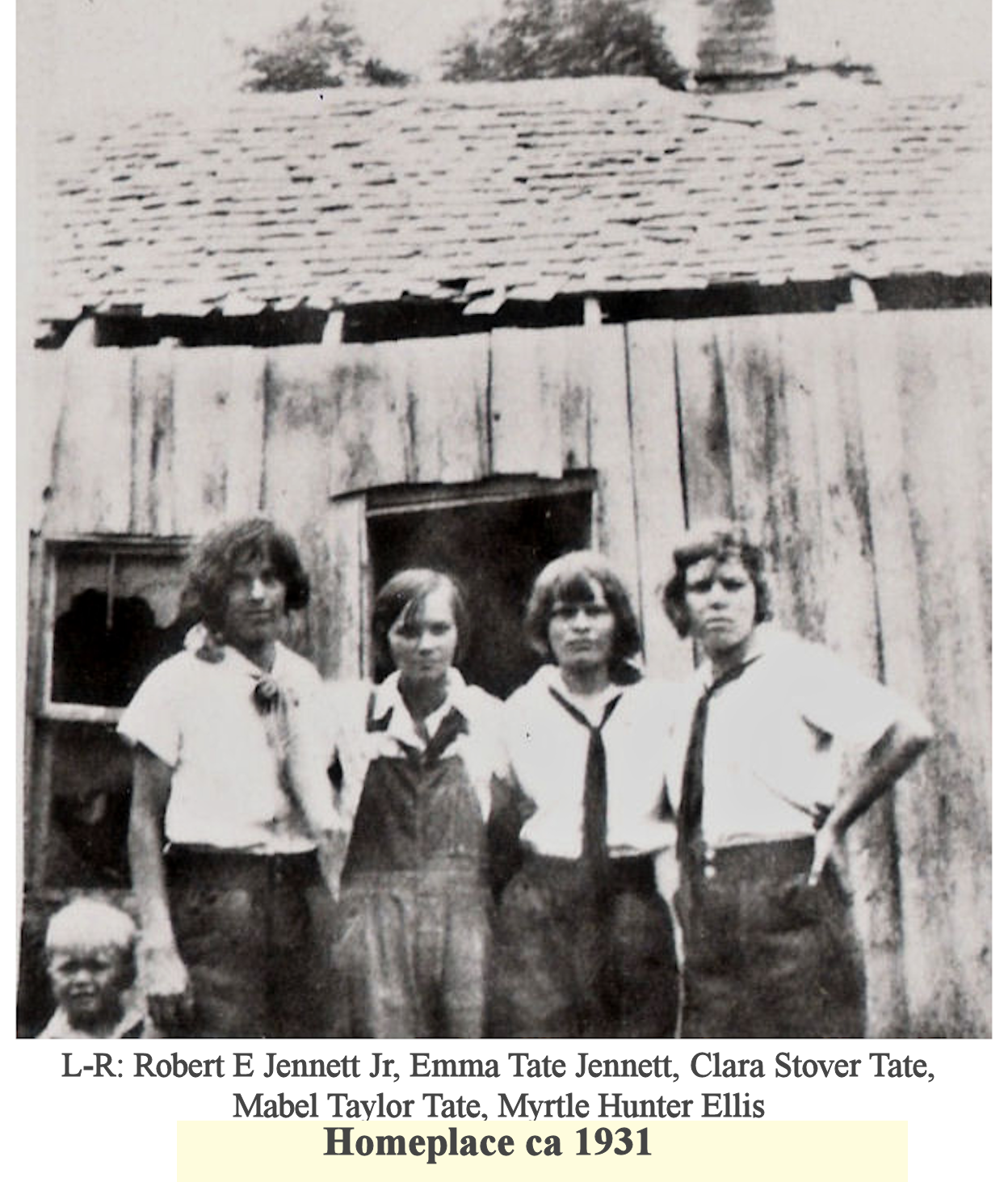 Robert Jennett Jr, Emma Tate Jennett, Clara Stover Tate, Mabel Taylor Tate, Myrtle Hunter Ellis at Homeplace 1931.png