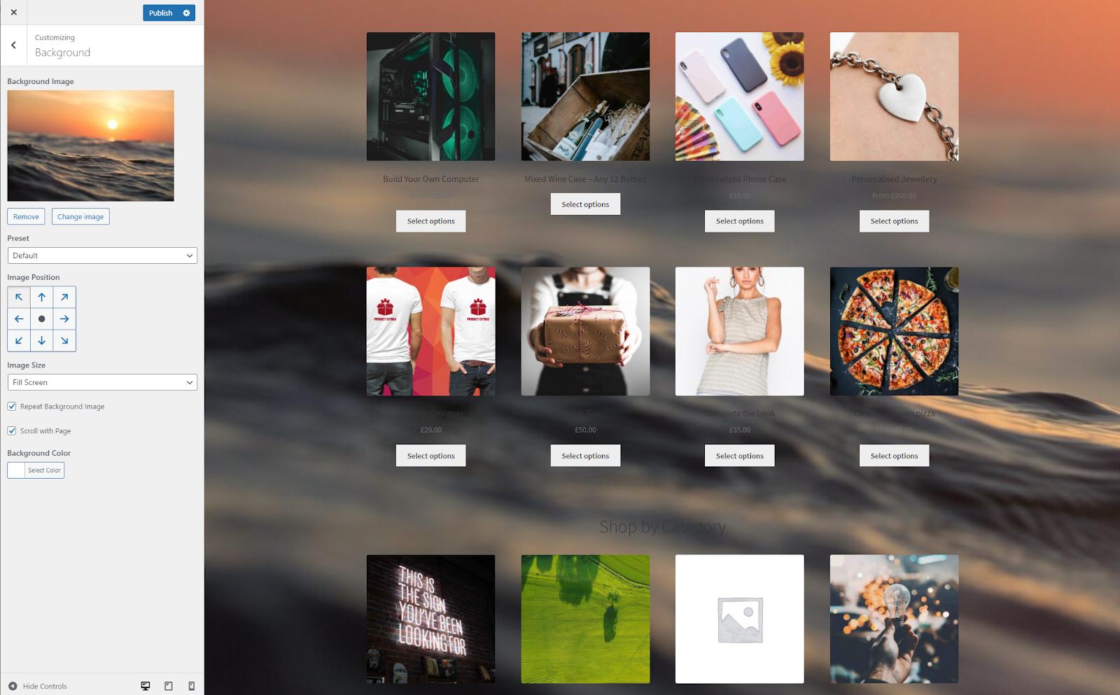 WordPress select background