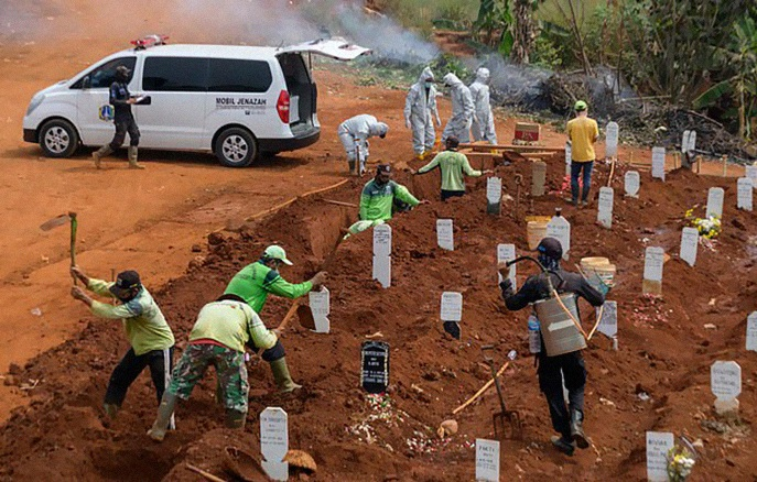Indonesia forces anti-masks to dig graves of people who died from Covid-19