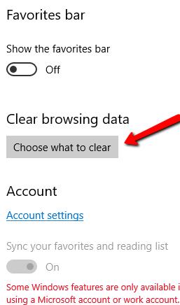 Edge Settings Clear Browsing Data