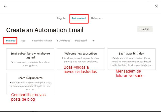 opção de criar campanha de email automatizada no MailChimp