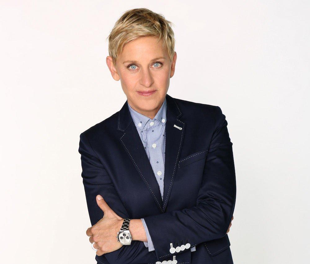 Ellen donning a classic Rolex wristwatch.