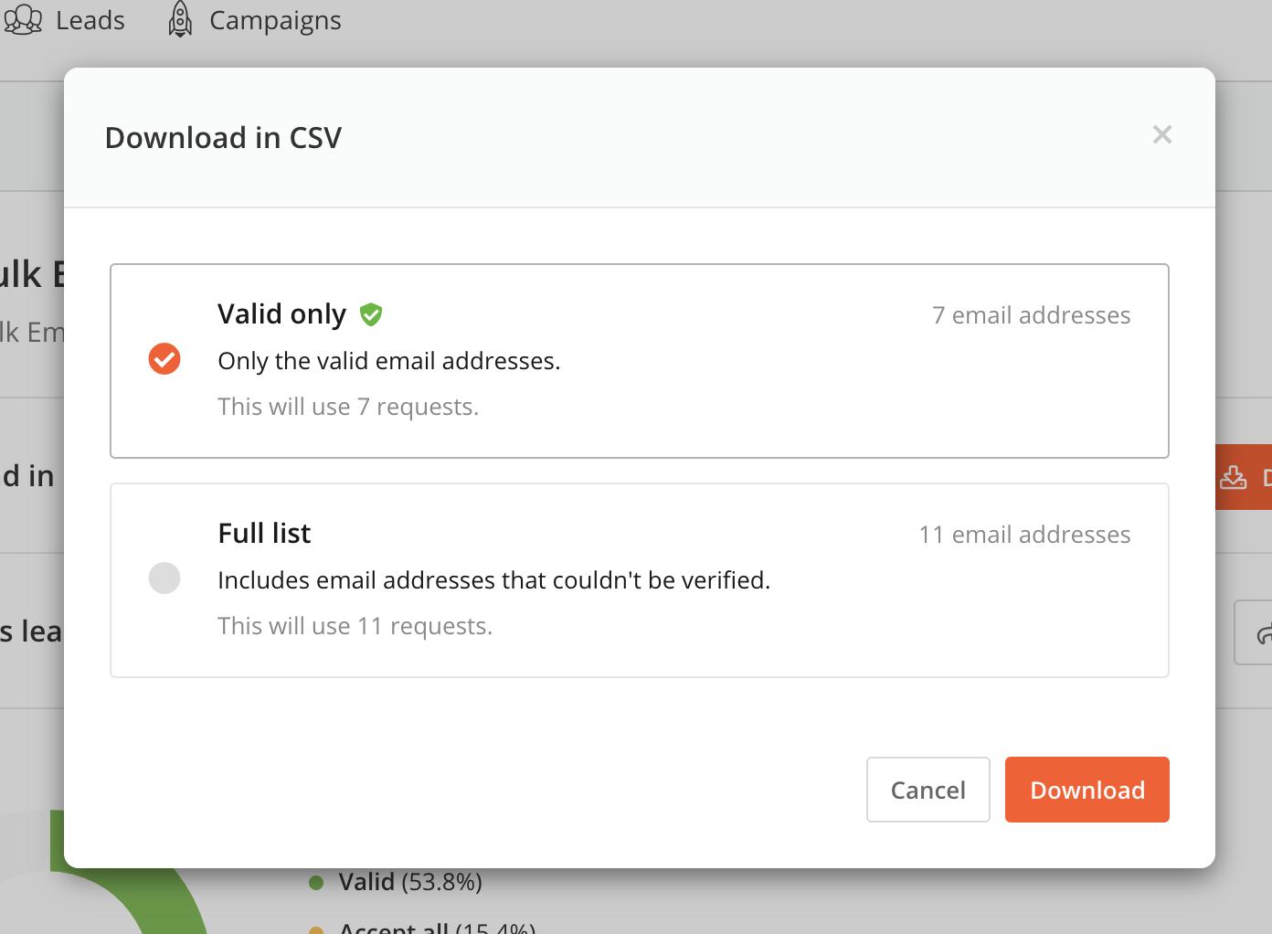 Bulk Email finder download popup