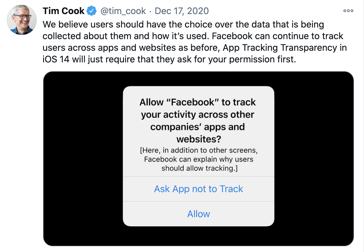 tweet from Tim Cook about data sharing with Facebook.