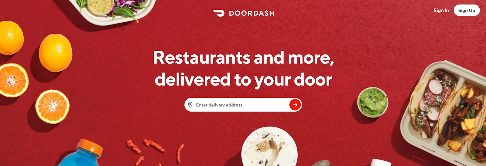 DoorDash Email Marketing Landing Page