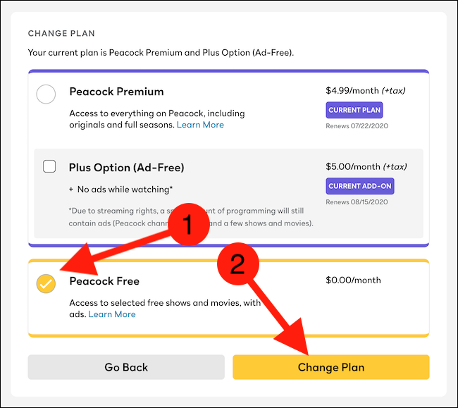 """Choose the """"Peacock Free"""" option and then click the """"Change Plan"""" button"""