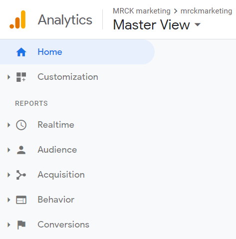 Google Analytics left side menu with reports for Realtime, Audience, Acquisition, Behavior, and Conversions.