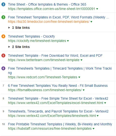timesheet template serp analysis