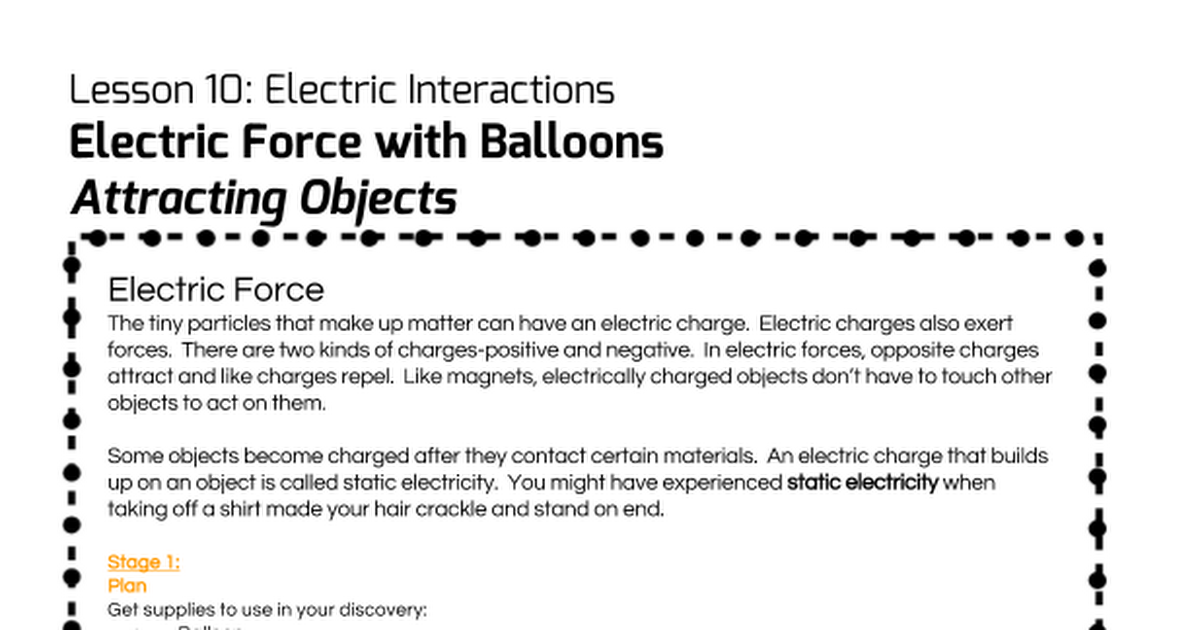 Lesson 10 Electric Force With Balloons Attracting Objects