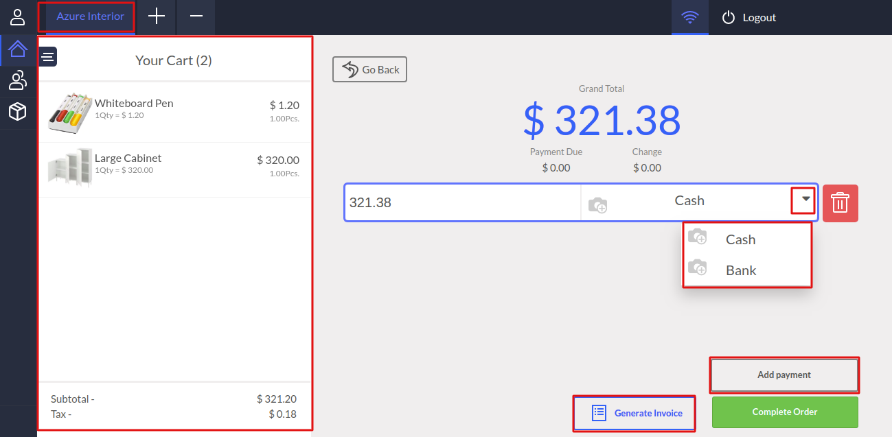 New payment screen in POS>