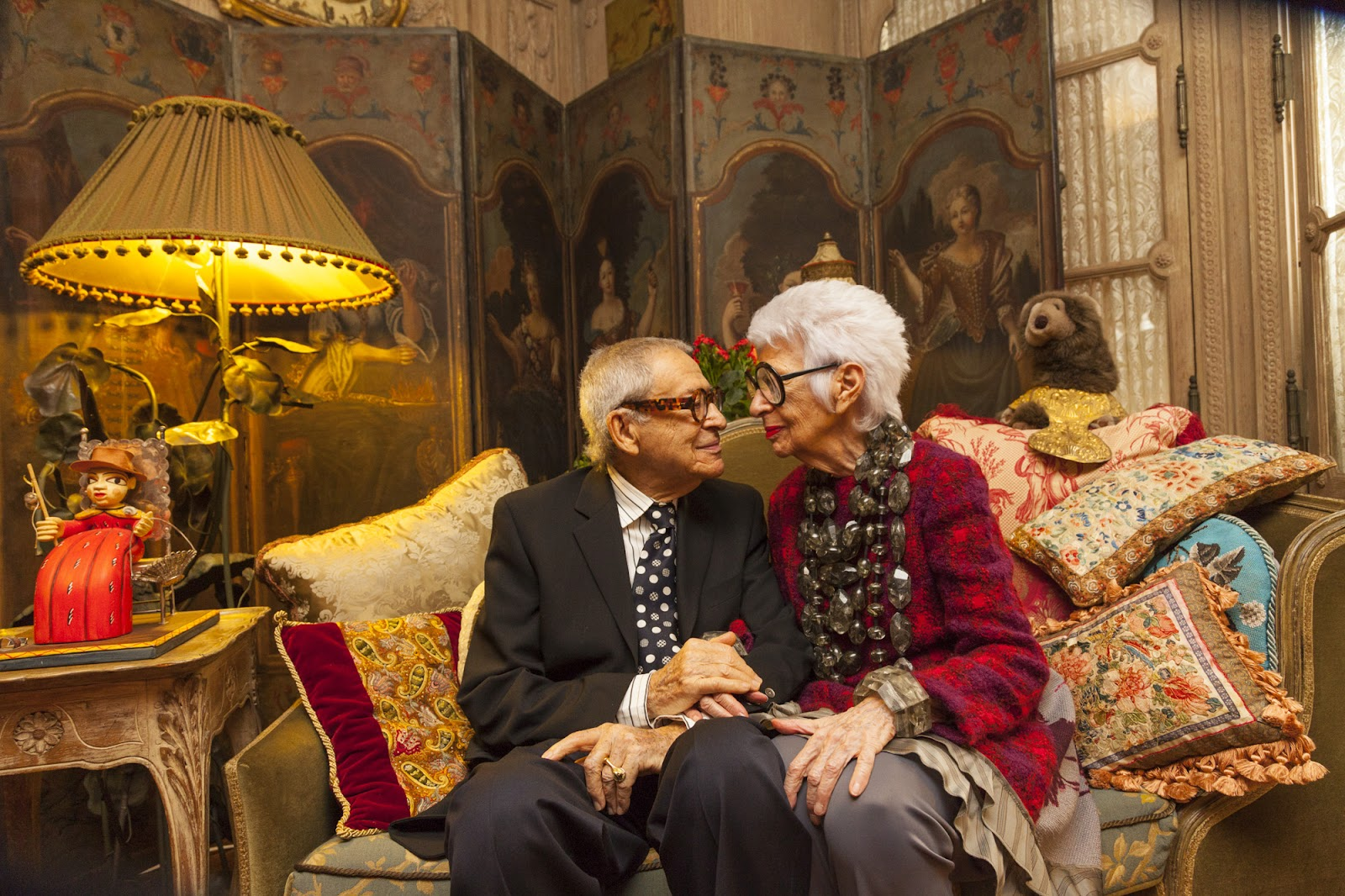 Iris Apfel and her husband Carl together in their home