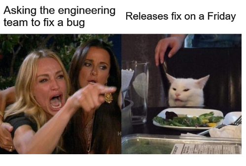 software release on a friday meme