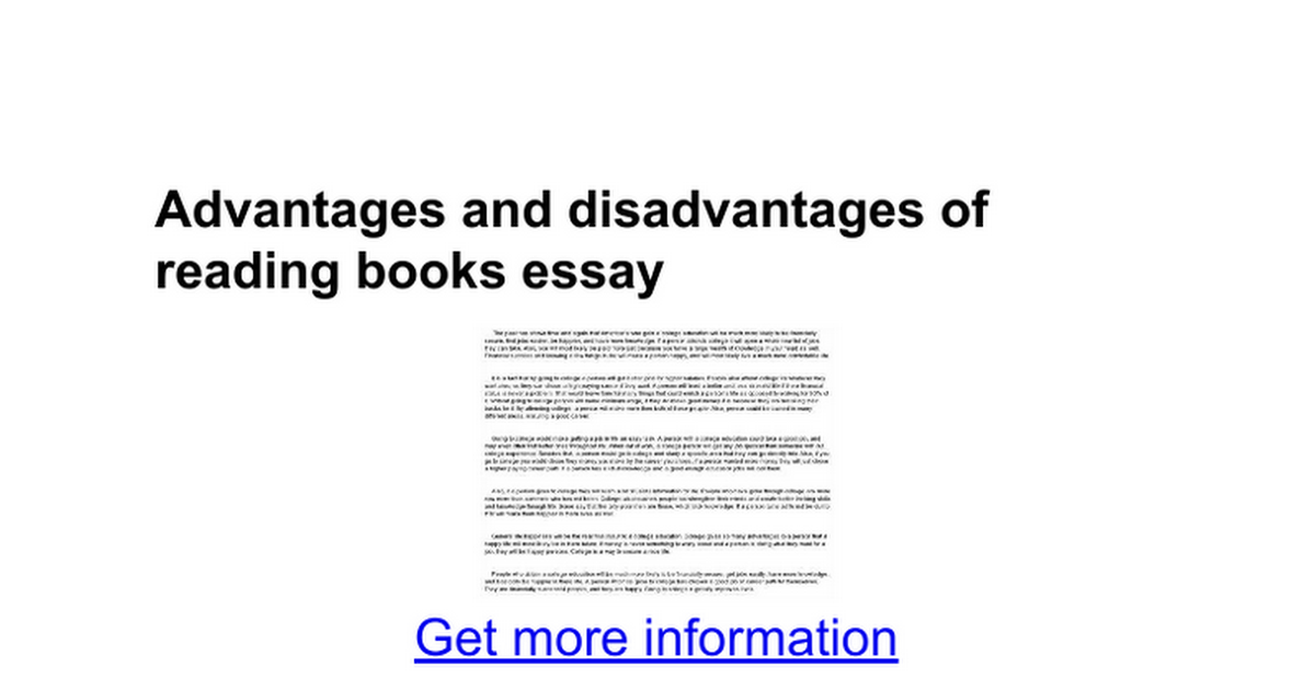 advantages and disadvantages of reading books essay google docs