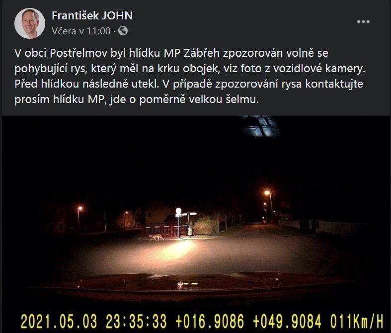 Rys se pohyboval v obci Postřelmov; zdroj: facebookový profil František JOHN