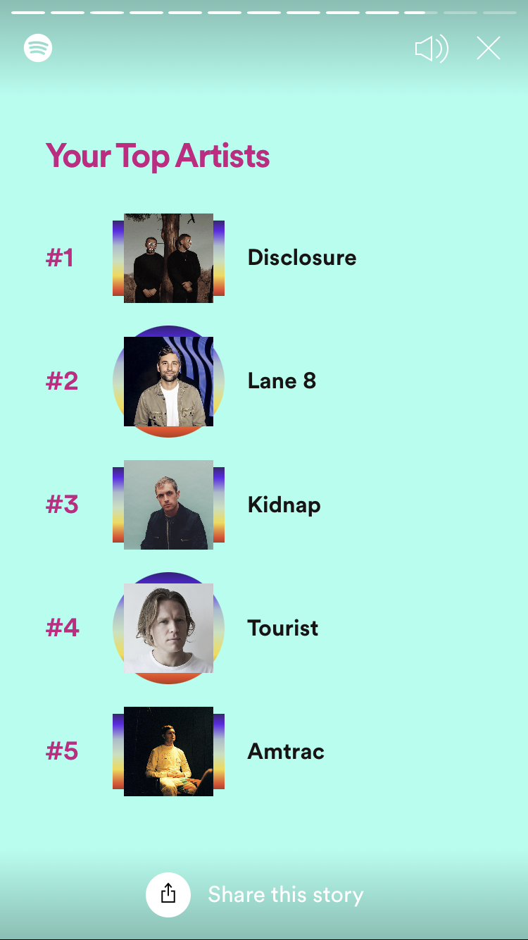 screenshot of spotify wrapped top artists, content duplicated in surrounding text.