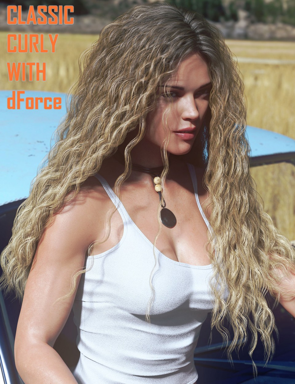 Classic Long Curly Hair with dForce for Genesis 8 Female(s) in Vendor, Linday,  3D Models by Daz 3D