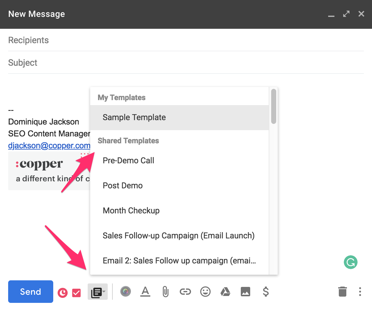 copper crm lets you save email templates for any scenario