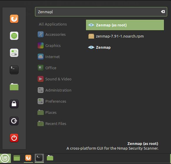 Run Zenmap in Linux Mint via Menu. Source: nudesystems.com