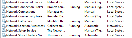 network connections running to provide you with internet connection