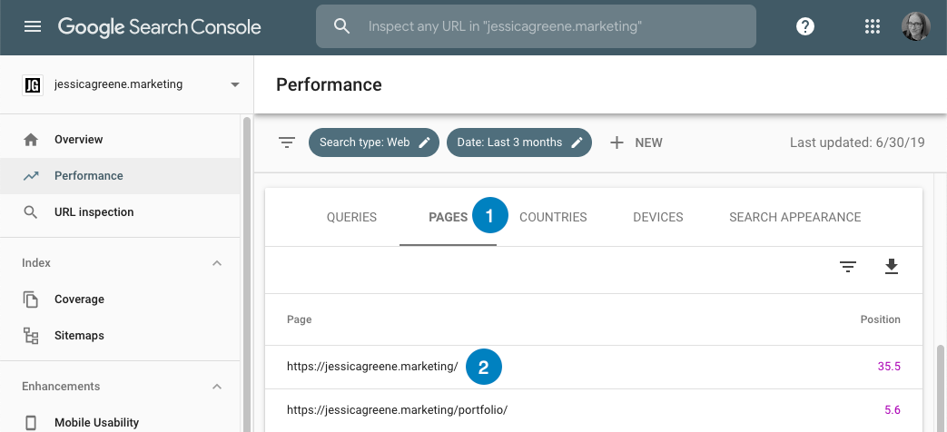find keyword rankings by page in google search console