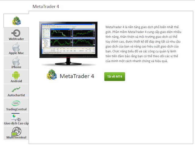 Các nền tảng giao dịch của sàn Icmarkets gồm phần mềm MT4, MT5 và cTrader
