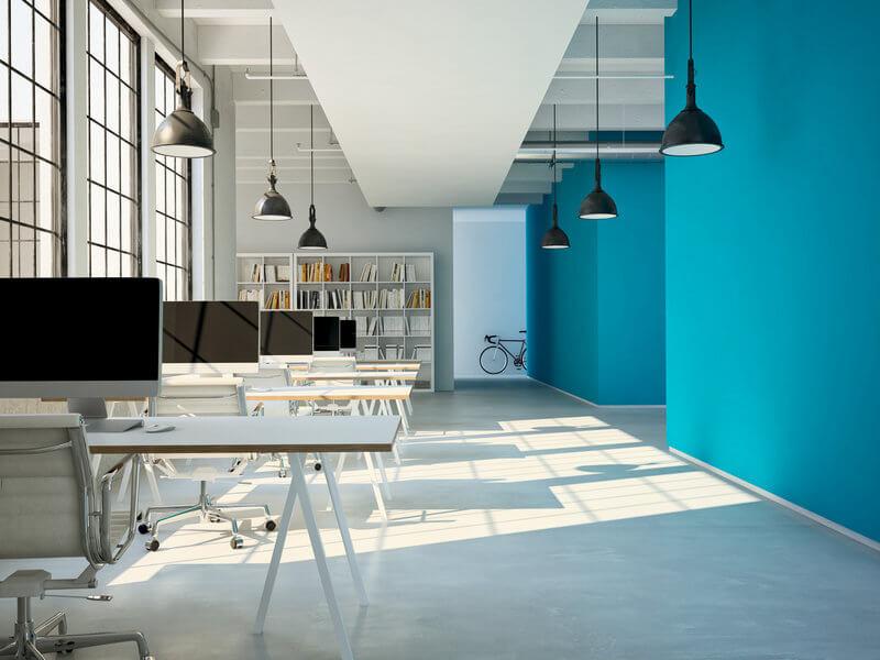 thiết kế văn phòng làm việc đủ ánh sáng