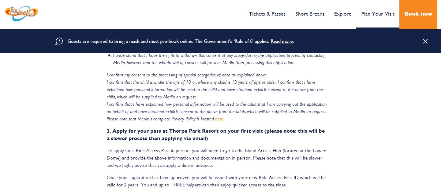 ride access pass application for thorpe park part 3
