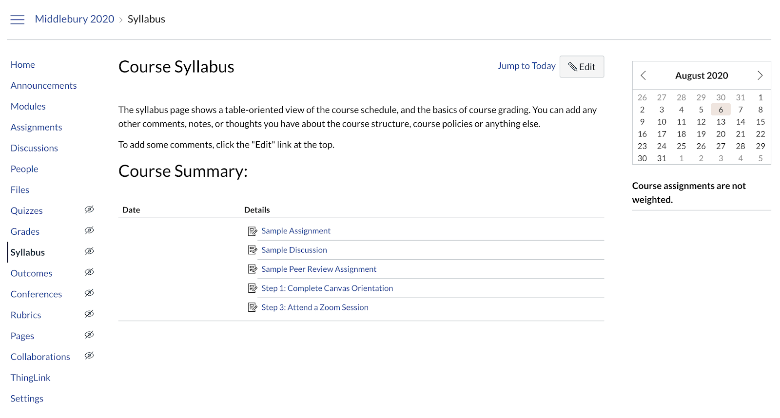 Screenshot of the Syllabus section of a Canvas course site