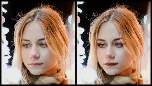 Antes e depois da foto de uma mulher loira onde uma das fotos está com a maquiagem Sugarplum do AirBrush