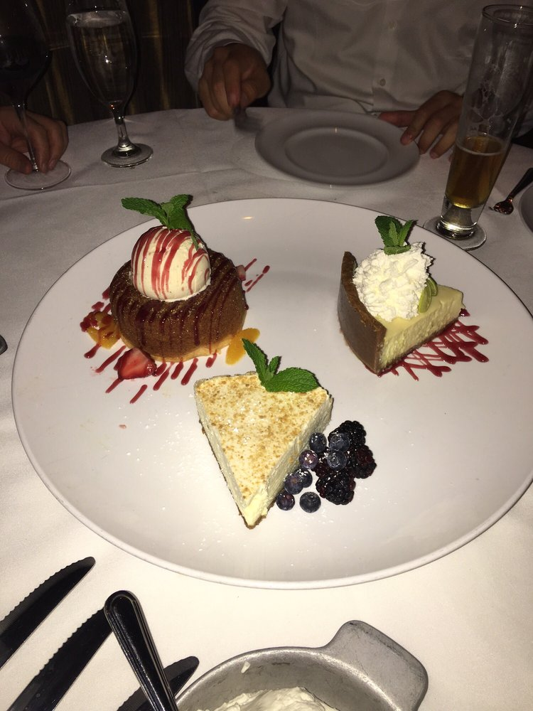 Photo of Mastro's Steakhouse - New York, NY, United States. Butter cake, key lime, and cheesecake