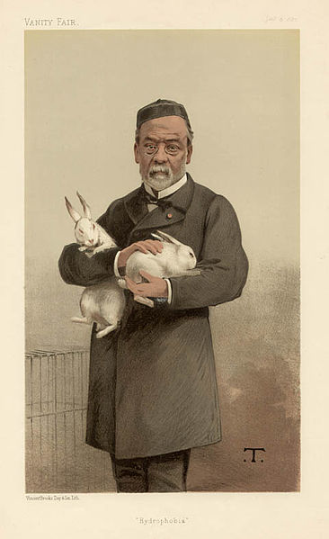Louis Pasteur from a magazine illustration, holding white rabbits.