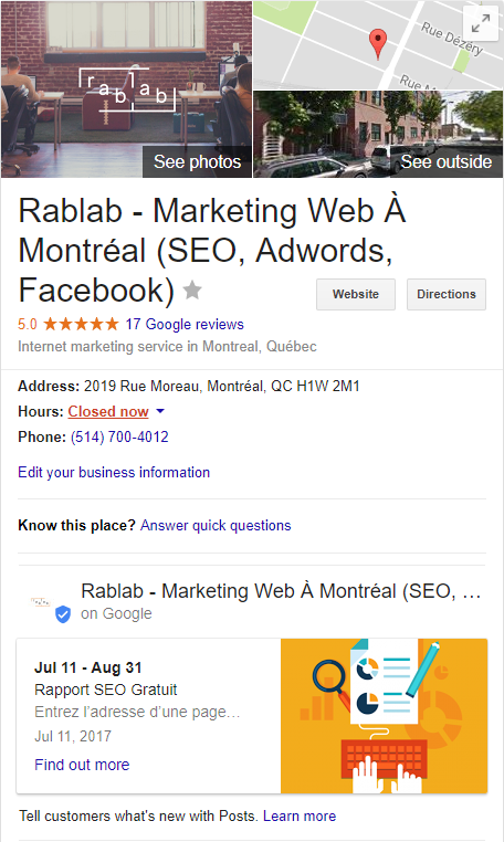 google my business post - Rablab marketing web montreal