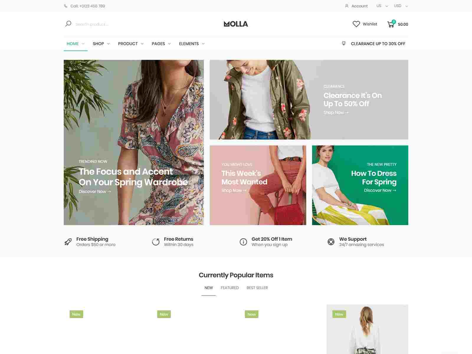Material design magento theme Molla
