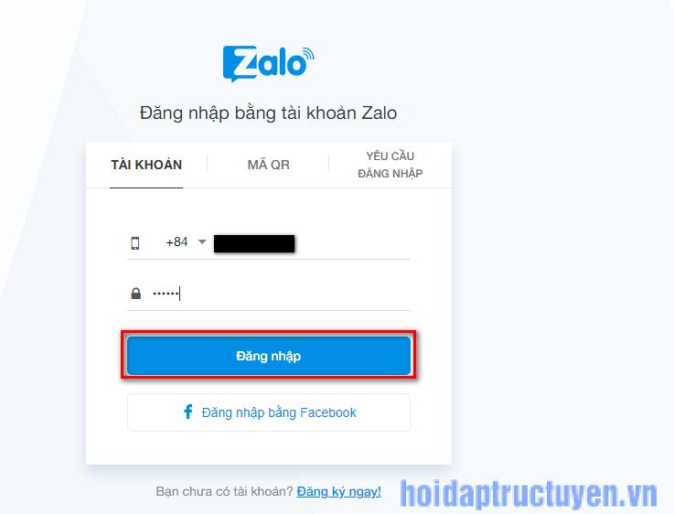 Cách đăng nhập zalo web theo tài khoản zalo đã có