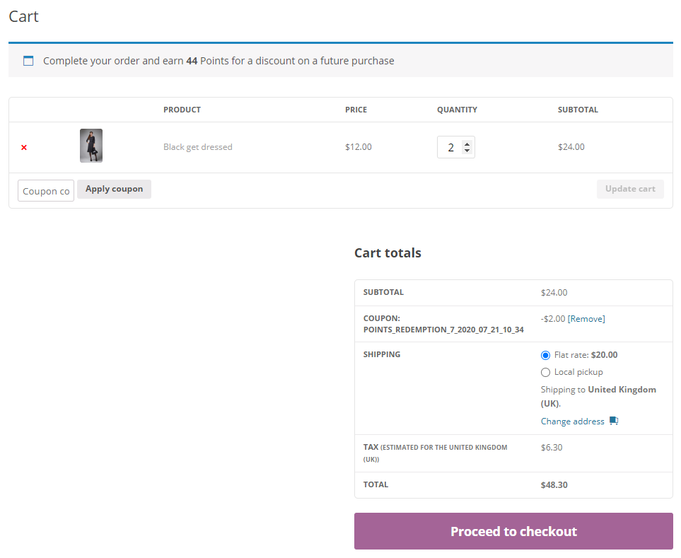 woocommerce points checkout