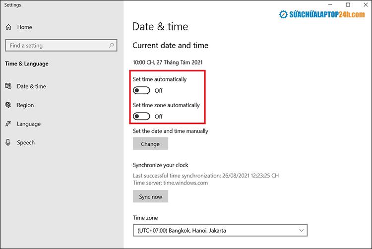 TắtSet time automatically và Set time zone automatically