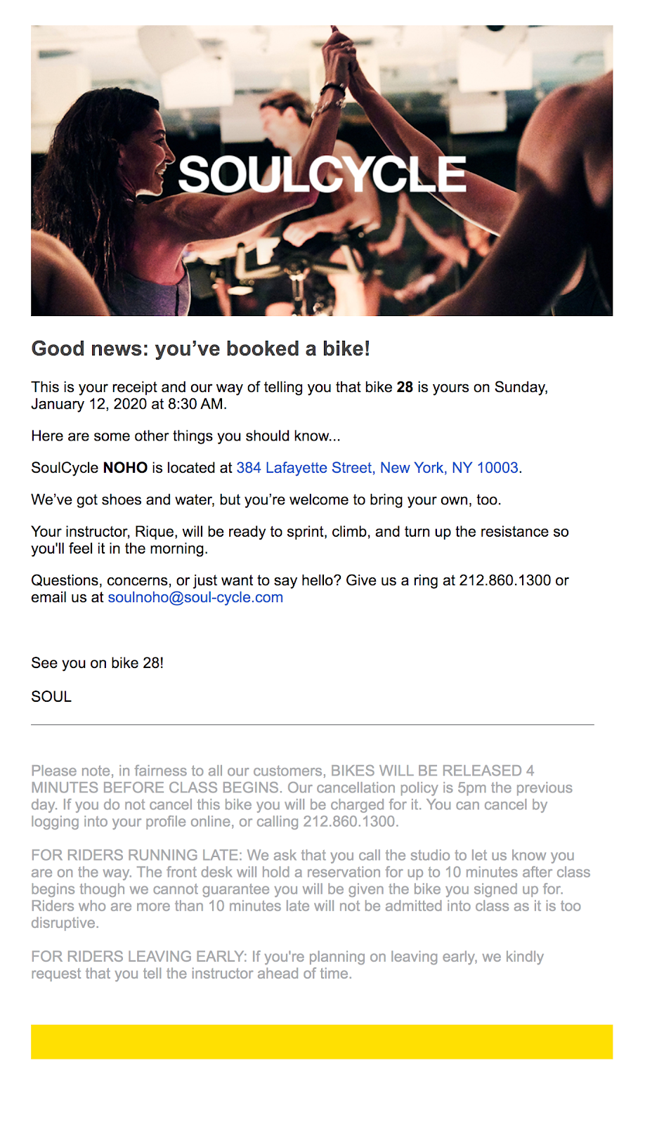 soulcycle confirmation email