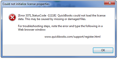 Error 3371, Status Code 11118 - Quickbooks could not load the license data