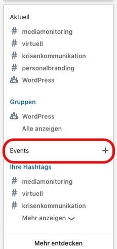 Neue Eventfunktion bei LinkedIn