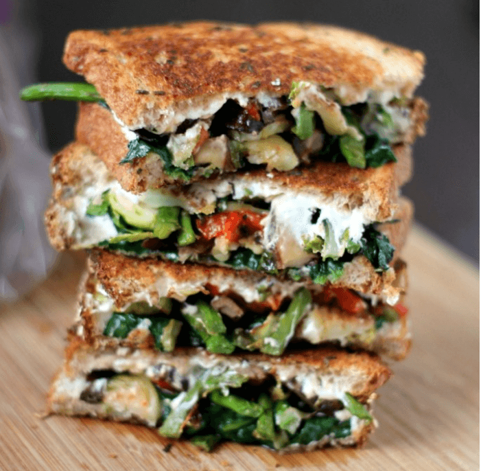 Roasted Vegetables Grilled Cheese