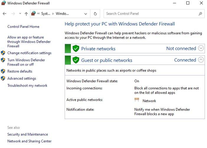 windows firewall settings
