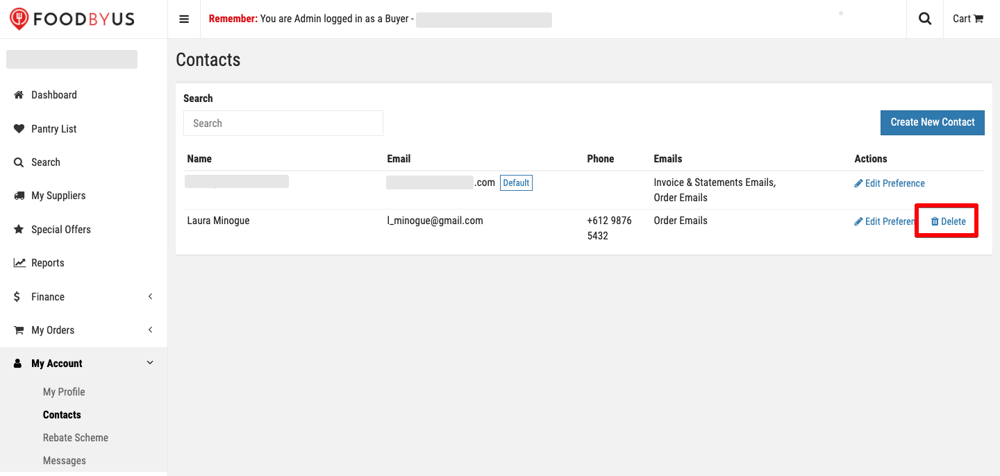 FoodByUs_dashboard_my_account_delete_new_contact