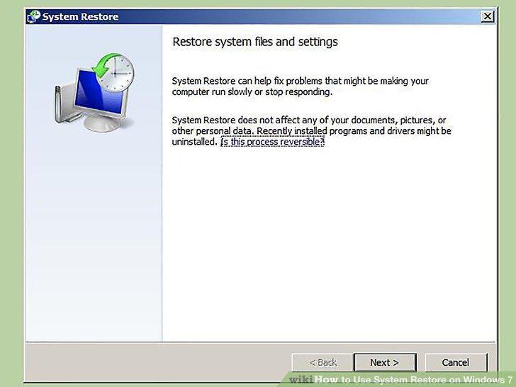 Restore the Windows System - Screenshot