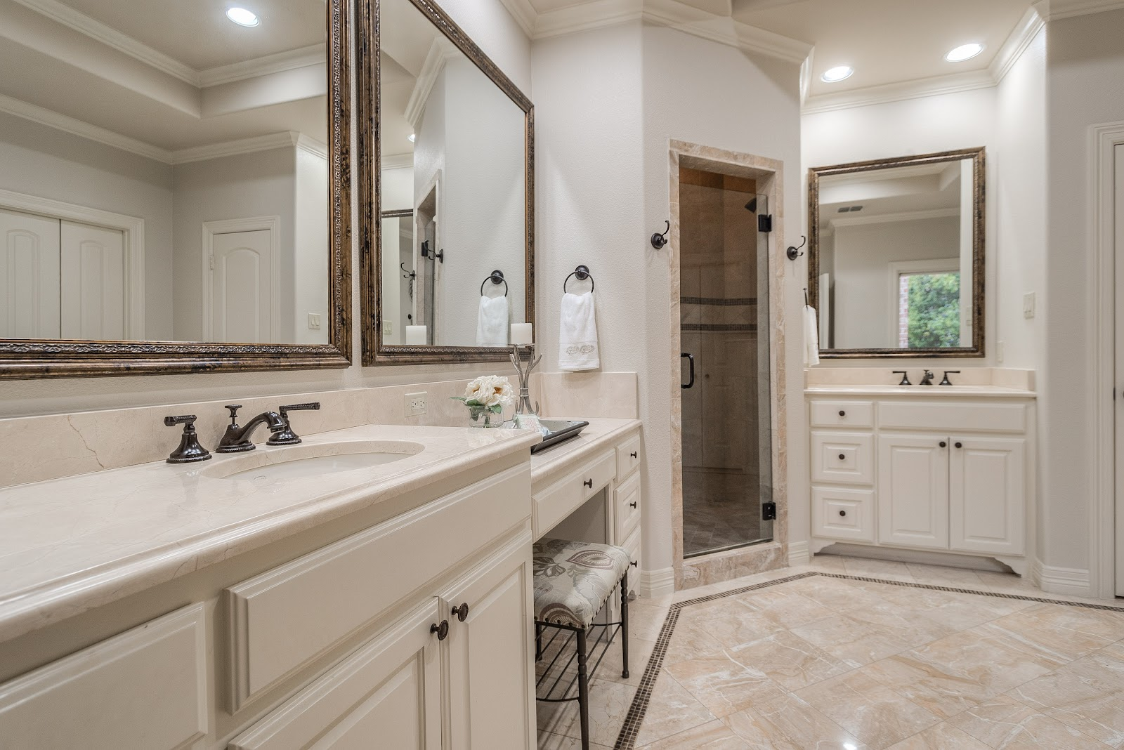 after master bathroom west highland park dallas home renovation and staging