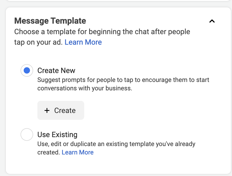 Setting up message template
