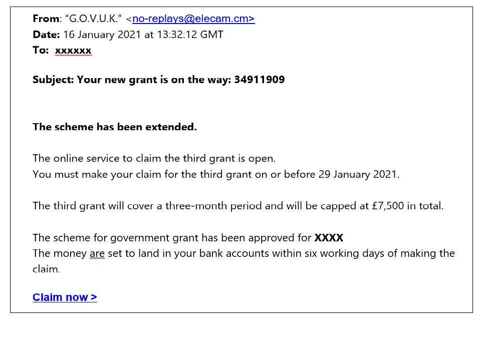 A screenshot of a scam email, pretending to be HMRC.