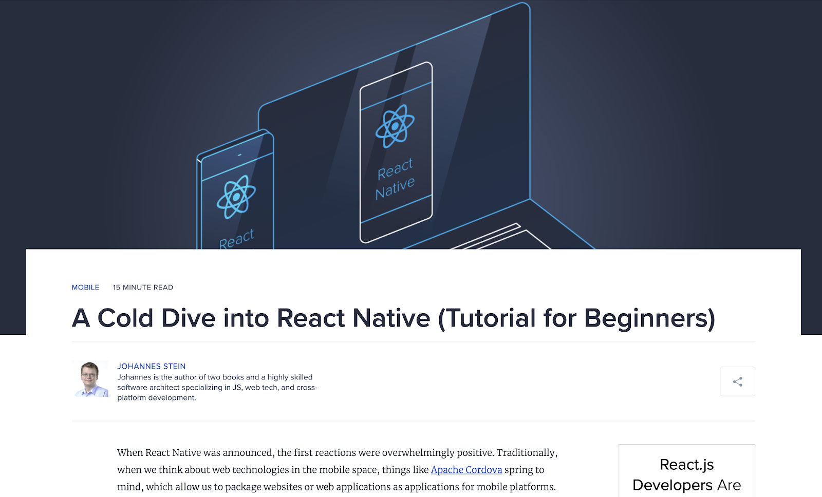 Screenshot of homepage: Tutorial Resource for React-Native Beginners